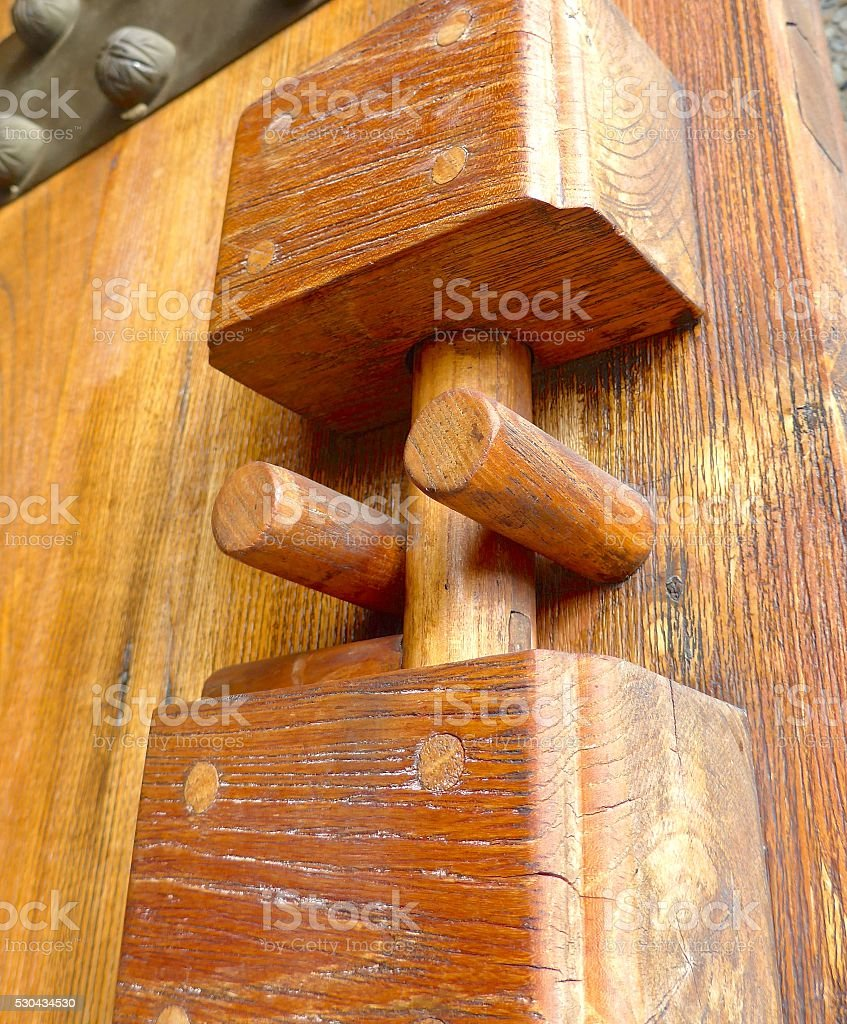 Wooden door lock closeup in temple stock photo