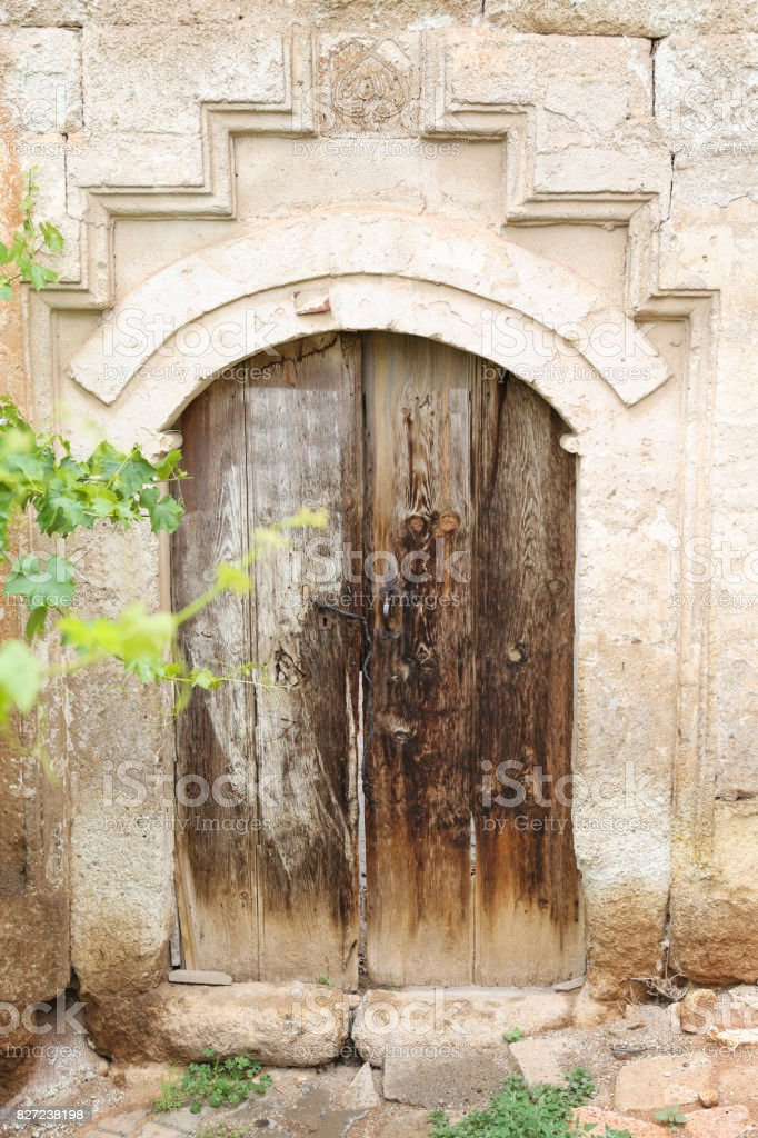 Wooden Door of an Turkish Traditional House stock photo