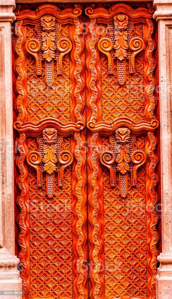 Wooden Door San Miguel de Allende Mexico stock photo