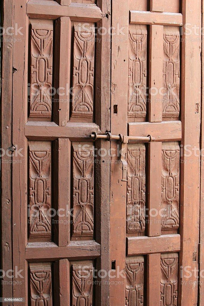 Wooden Door - Santa Catalina stock photo