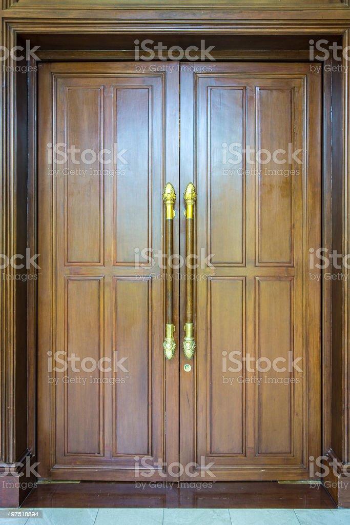 Wooden Door with Frame stock photo