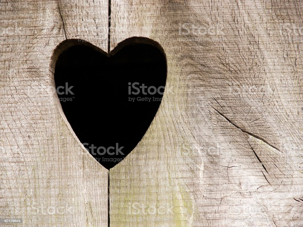Wooden door with heart royalty-free stock photo