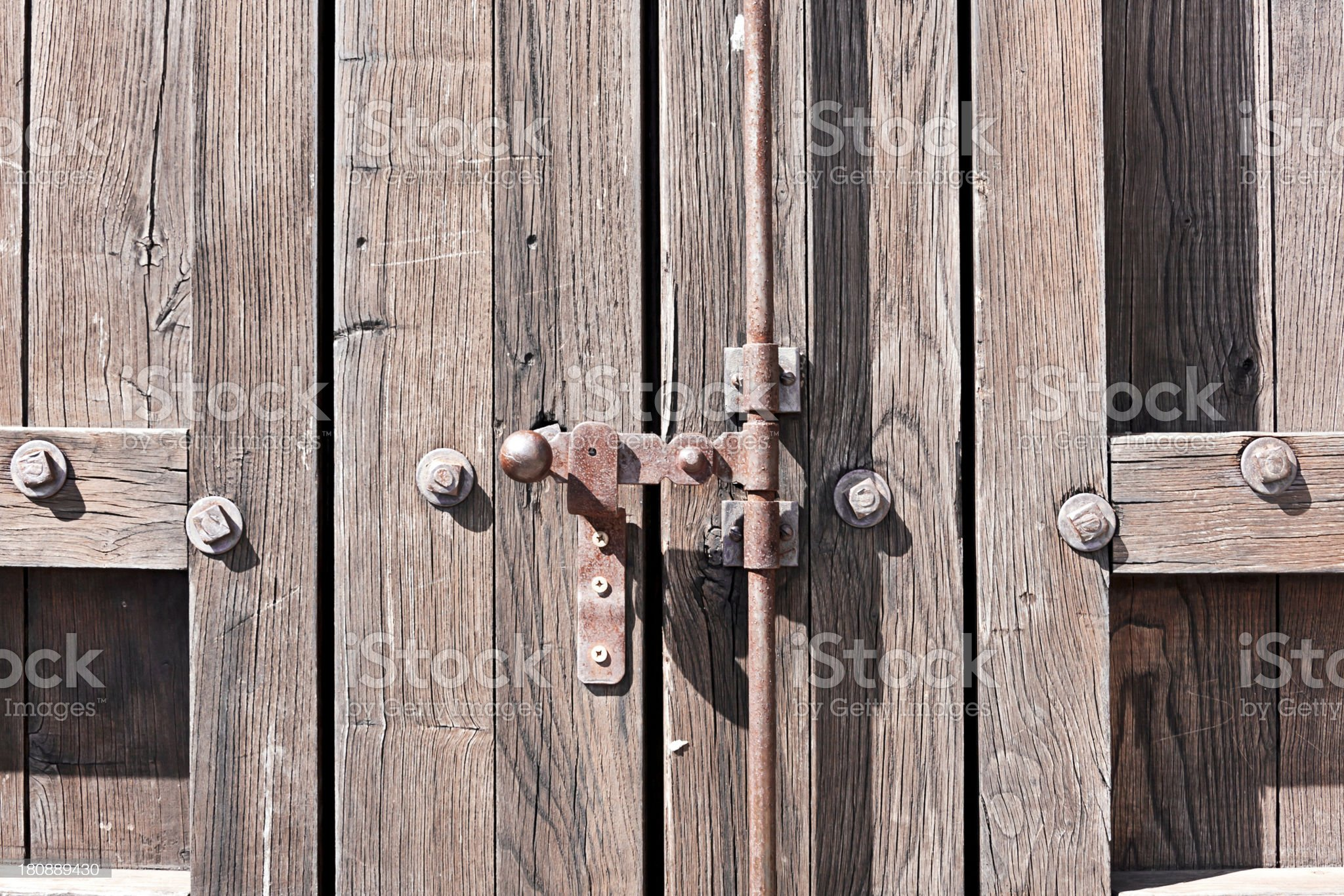 wooden door with studs royalty-free stock photo