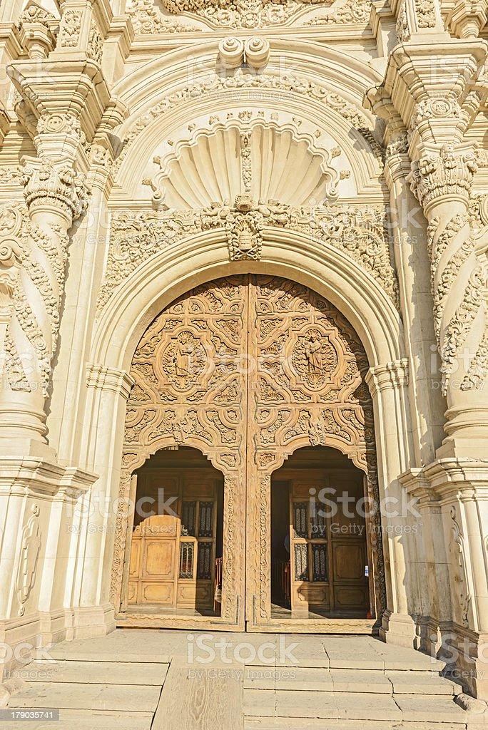 Wooden doors Catedral de Santiago in Saltillo, Mexico stock photo