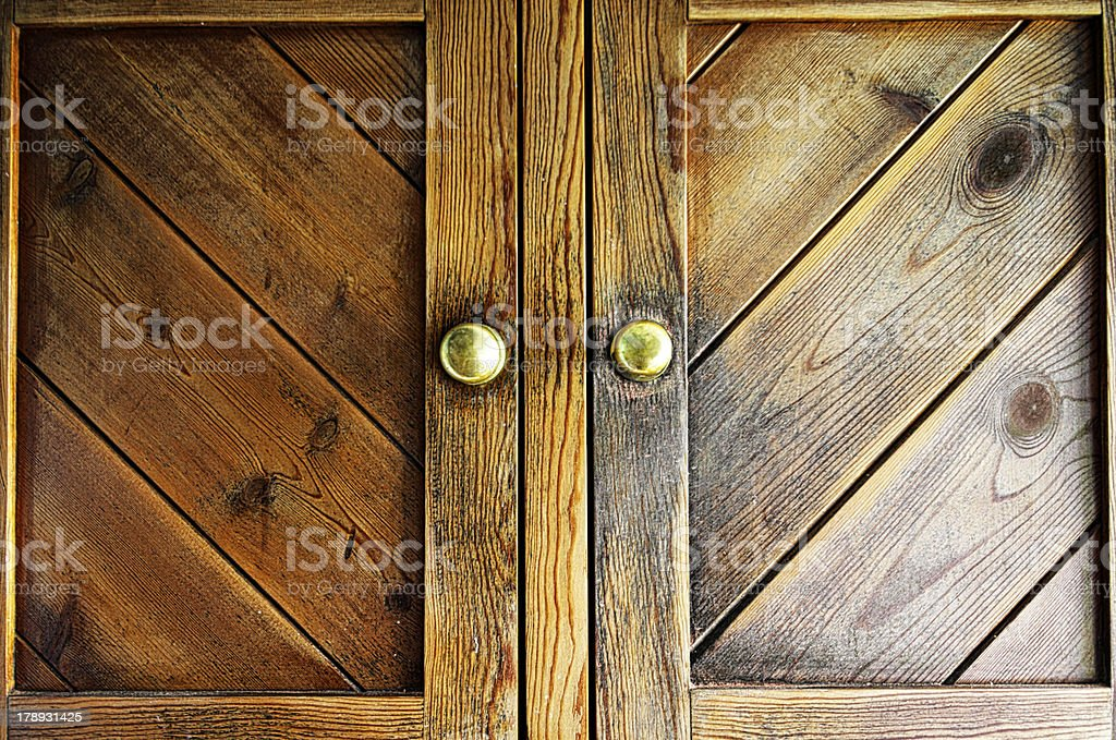Wooden Doors On Old Cabinet stock photo