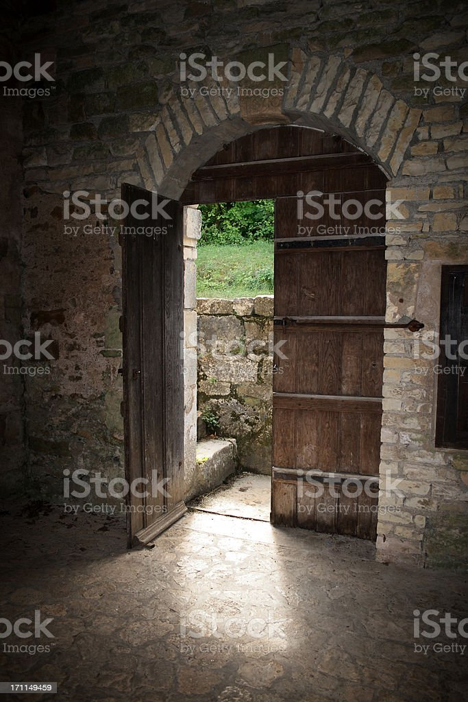 Wooden doorway royalty-free stock photo