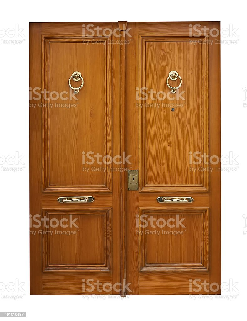 wooden double doors. Isolated over white stock photo