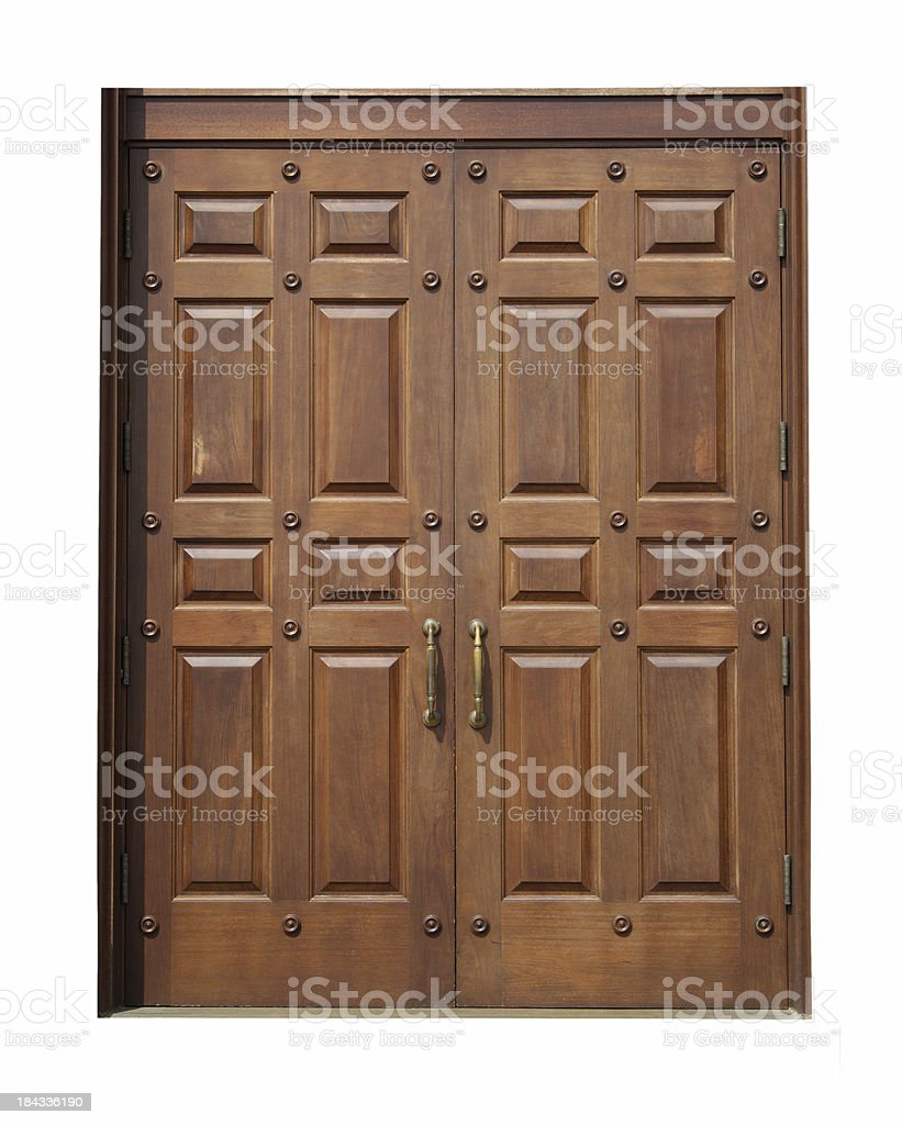 Wooden Double Doors stock photo