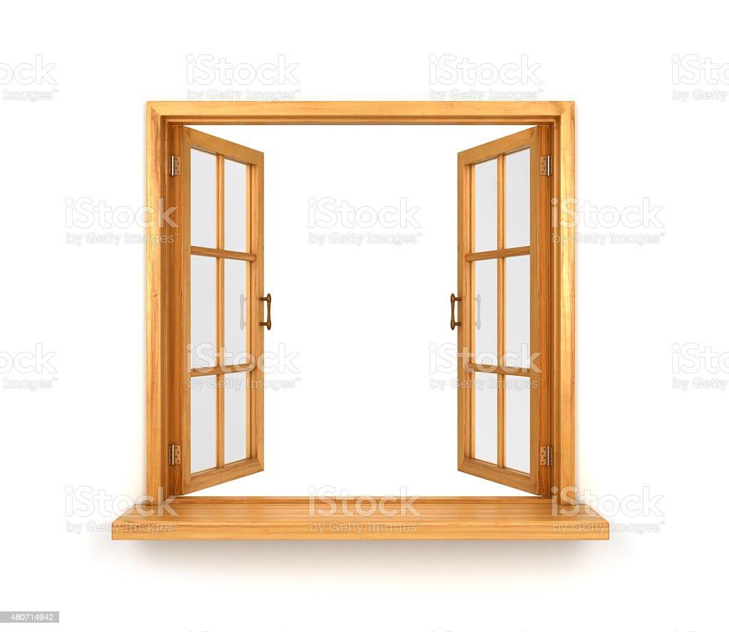 Wooden double window opened stock photo