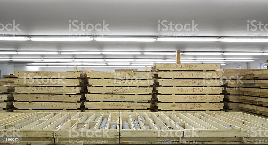 Wooden drawers with core samples royalty-free stock photo
