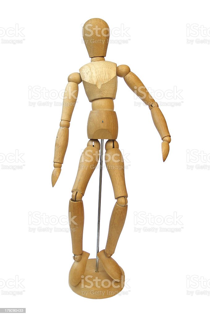 Wooden drawing doll royalty-free stock photo
