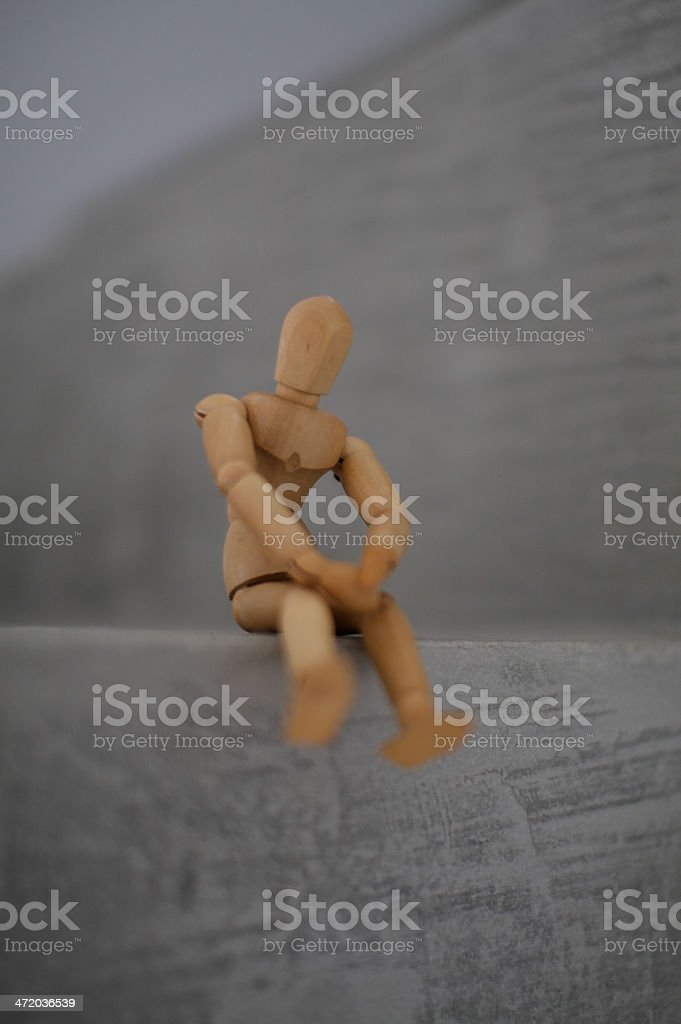 Wooden Drawing Doll stock photo
