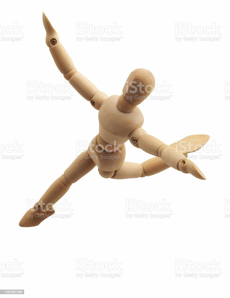 wooden drawing figure dancing royalty-free stock photo