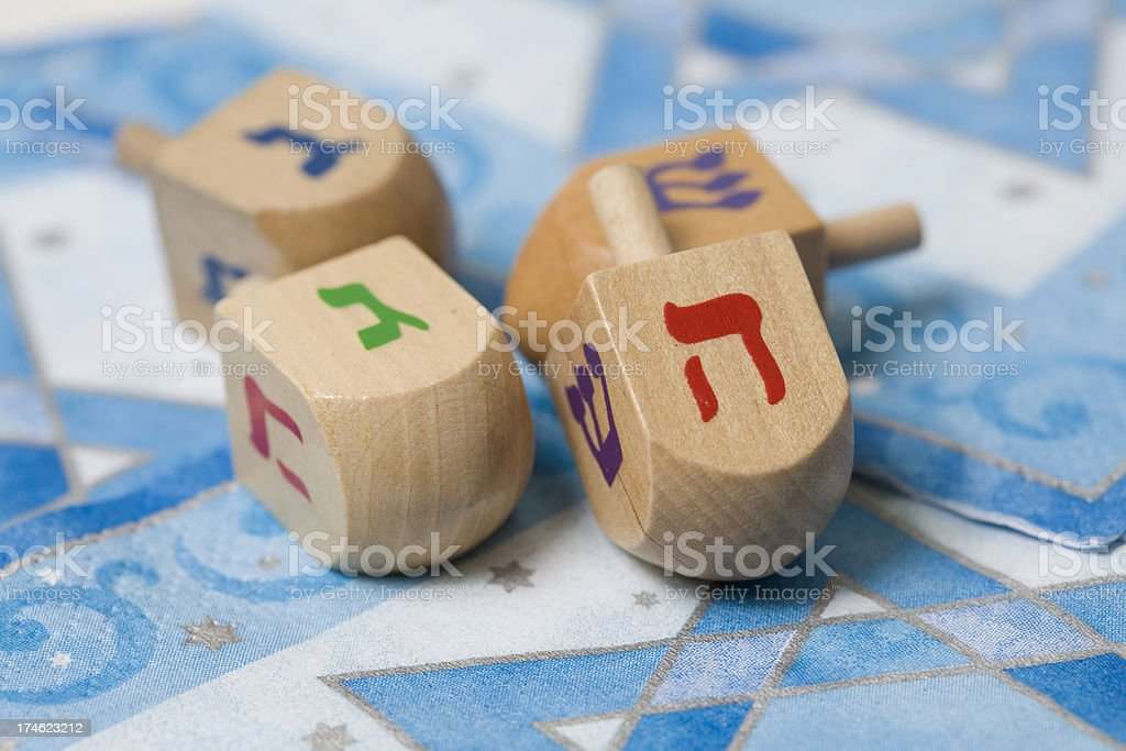 Wooden Dreidels royalty-free stock photo