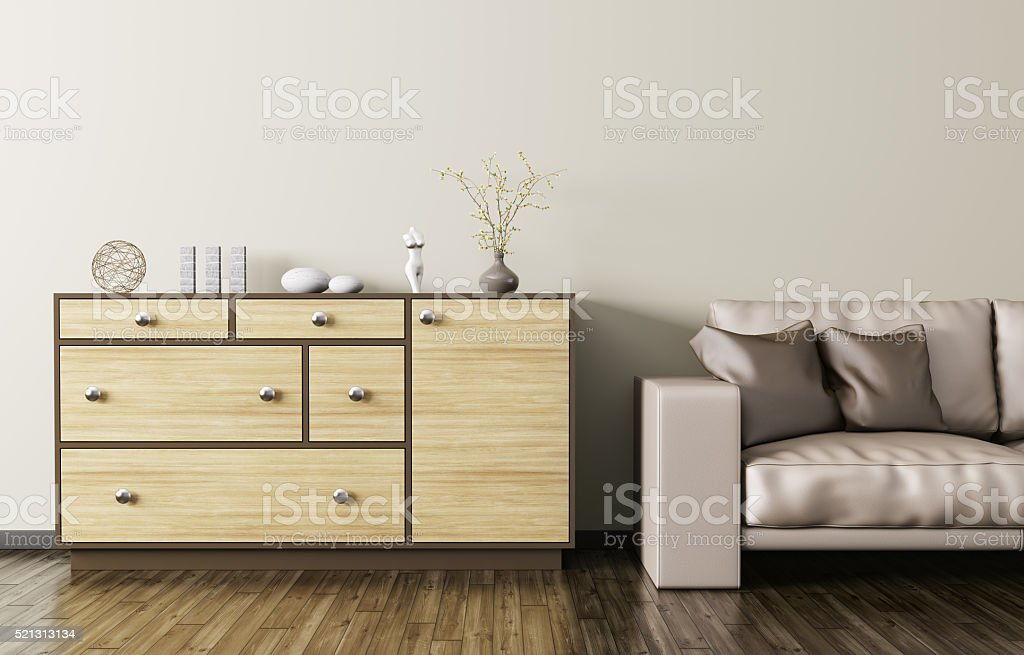 Wooden dresser and beige leather sofa 3d rendering stock photo