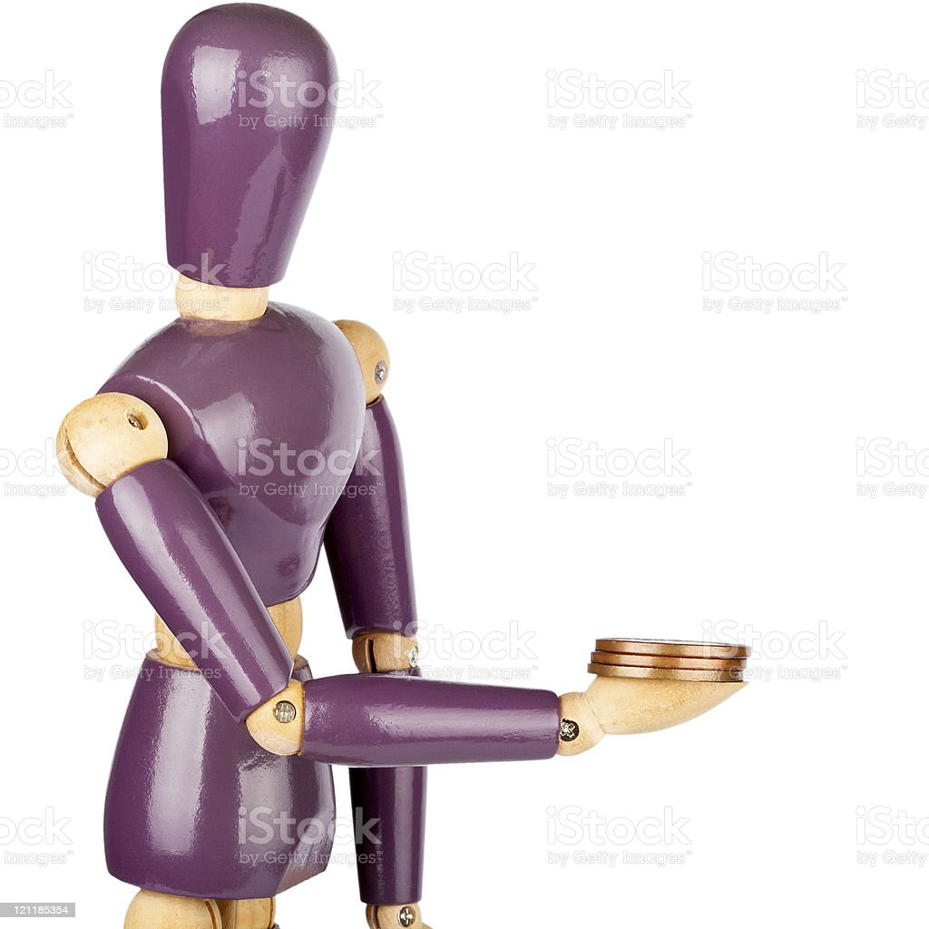 Wooden dummy giving money royalty-free stock photo