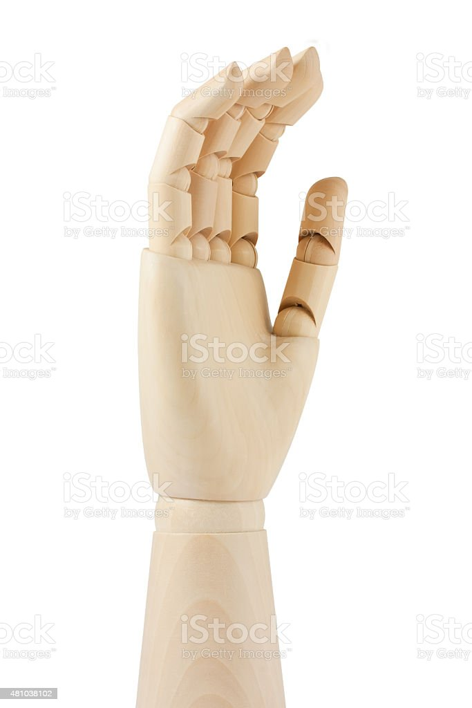 Wooden dummy hand stock photo