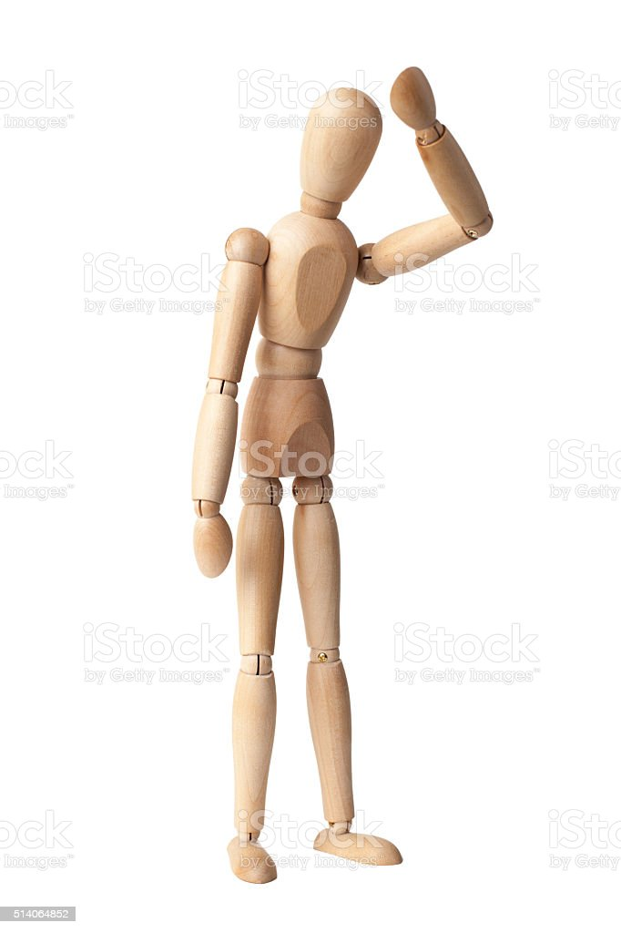 Wooden Dummy Isolated Over White stock photo