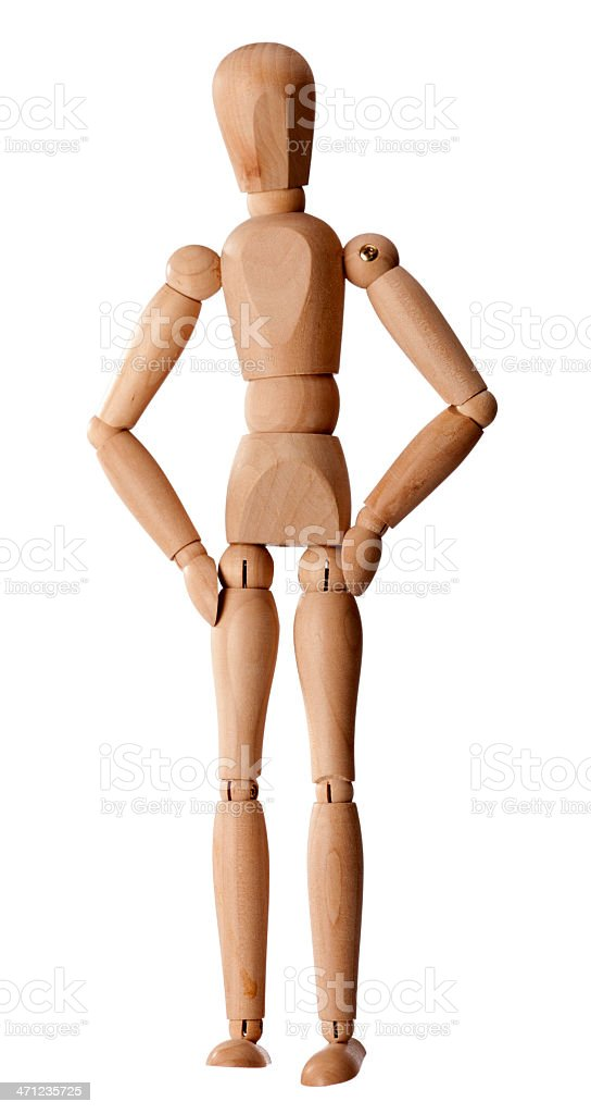 Wooden dummy on white background stock photo
