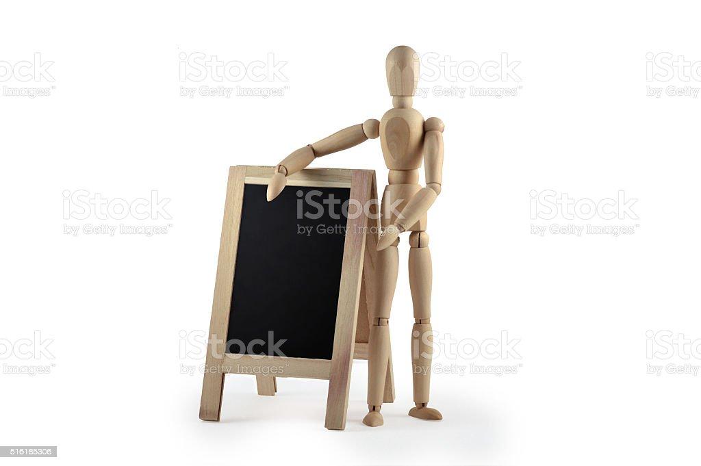 wooden dummy with blackboard stock photo