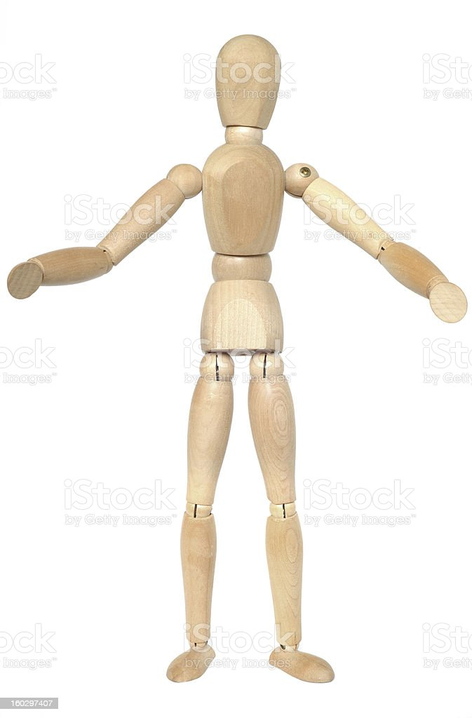 Wooden dummy with open arms. royalty-free stock photo