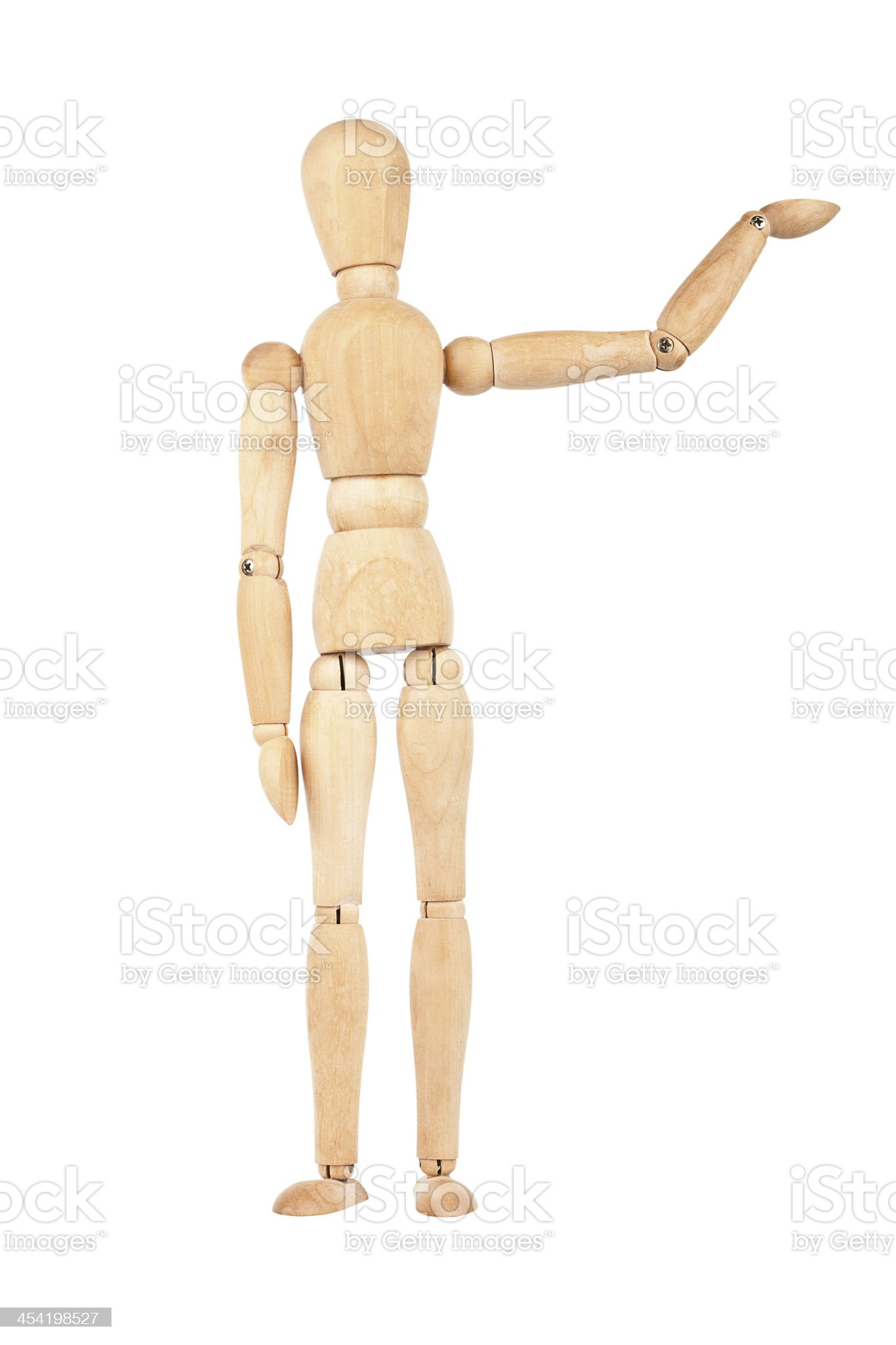 Wooden dummy with raised hand royalty-free stock photo