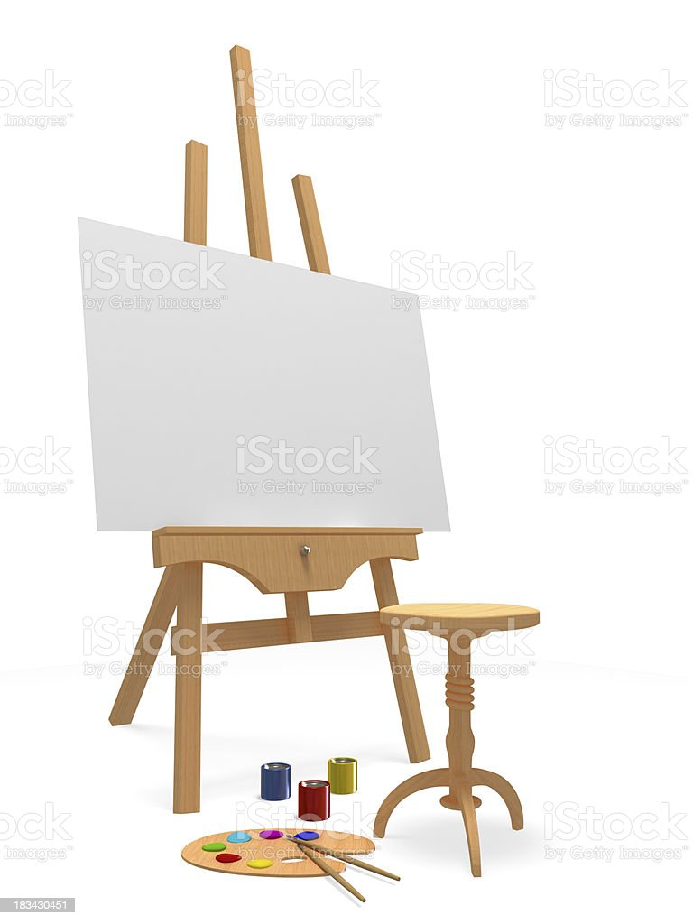 Wooden Easel and Painter's Tools royalty-free stock photo