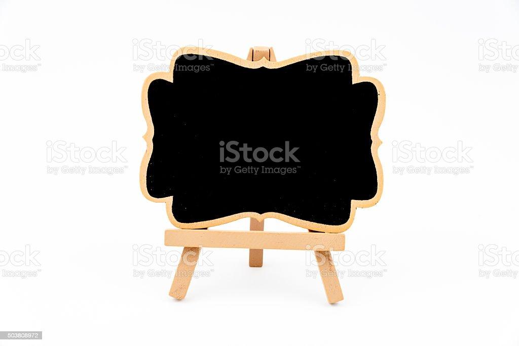 Wooden easel mini blackboard isolated on white stock photo