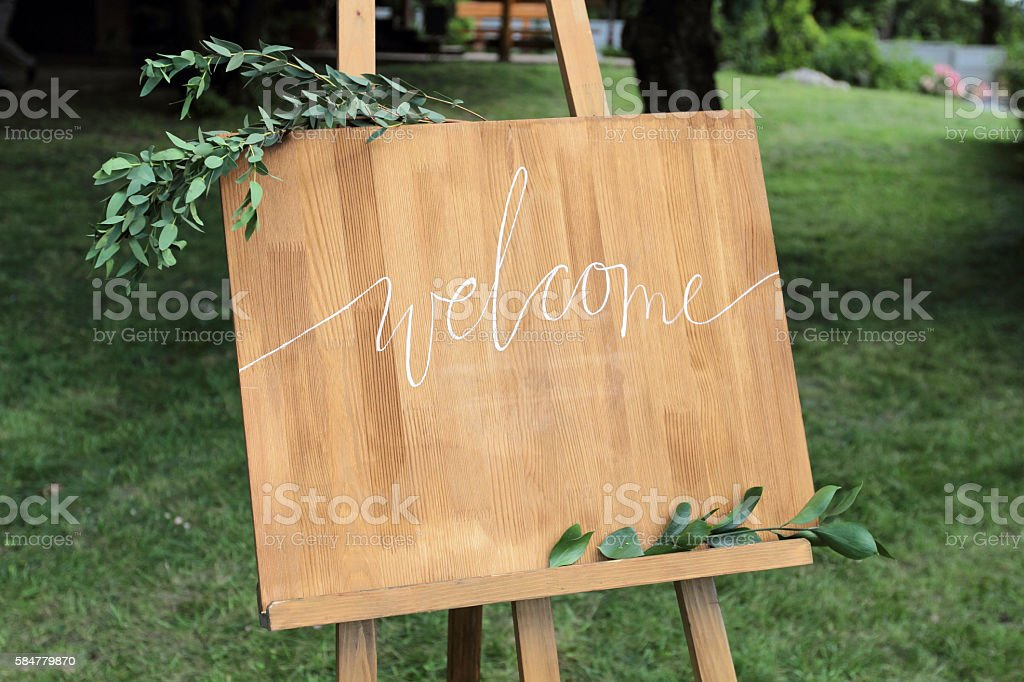 Wooden easel with a board. stock photo