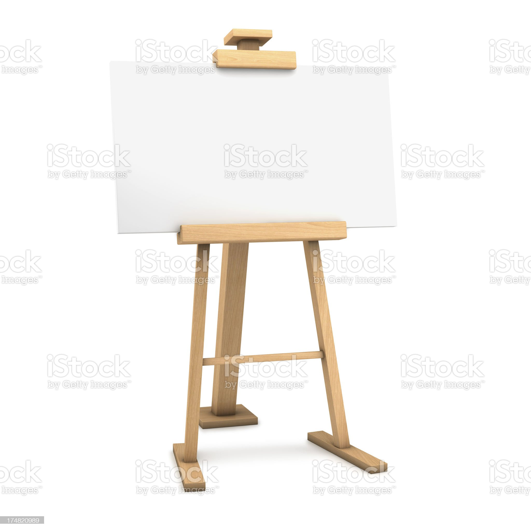 Wooden easel with blank canvas royalty-free stock photo