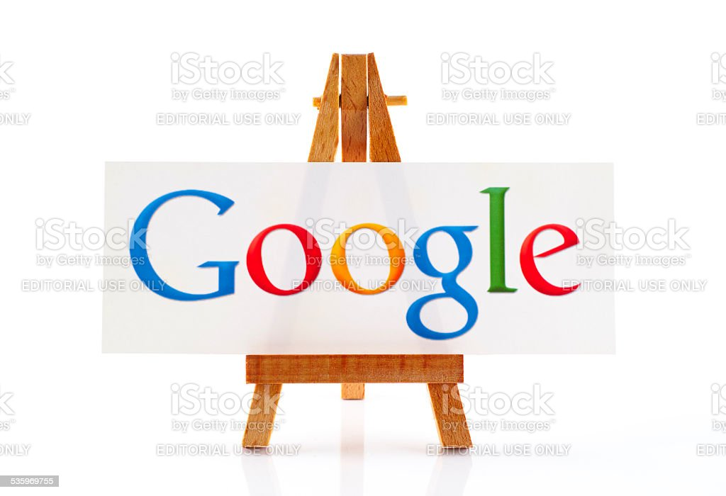 Wooden easel with word Google stock photo