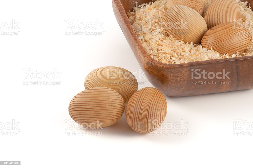 wooden easter eggs stock photo