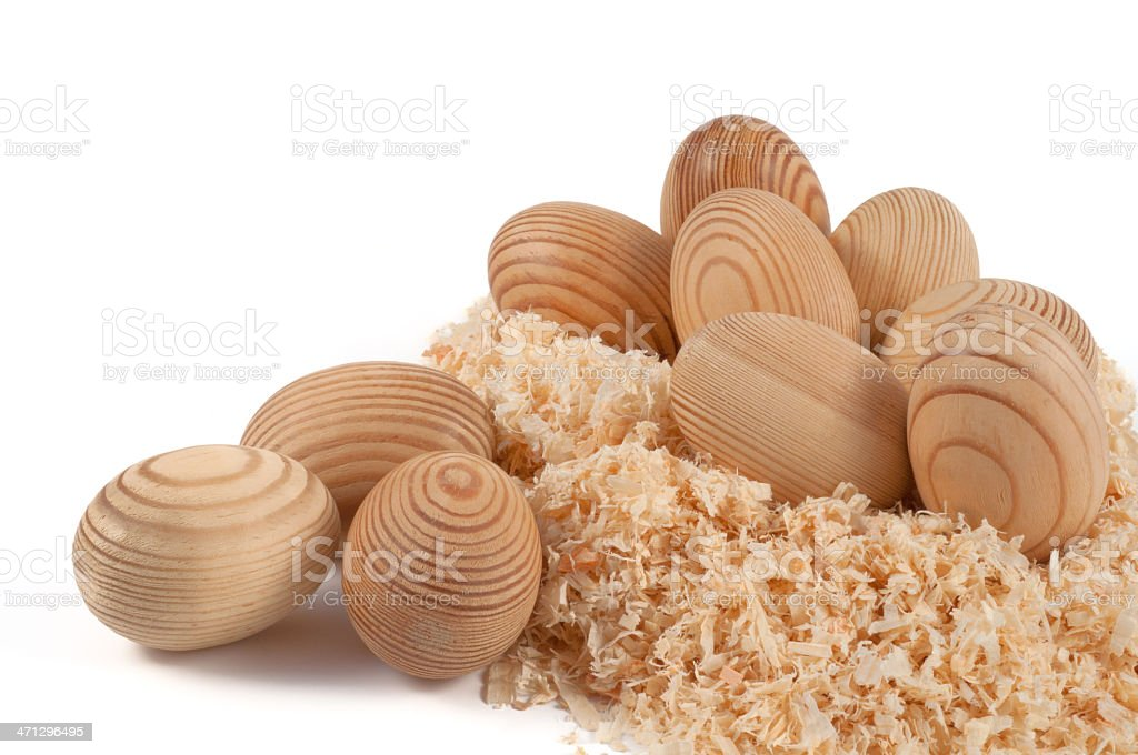wooden easter eggs stock photo