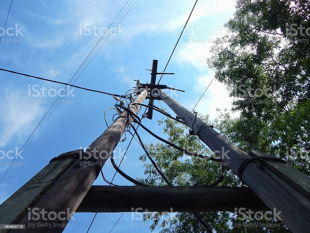 Wooden electric pole. stock photo