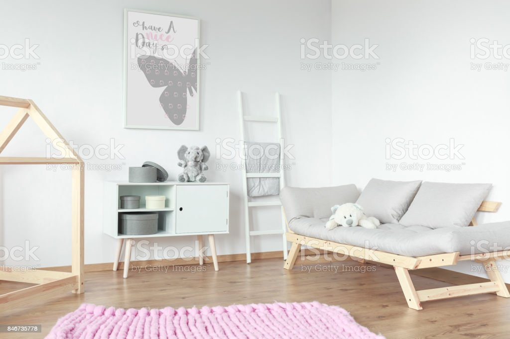 Wooden elements in kid room stock photo