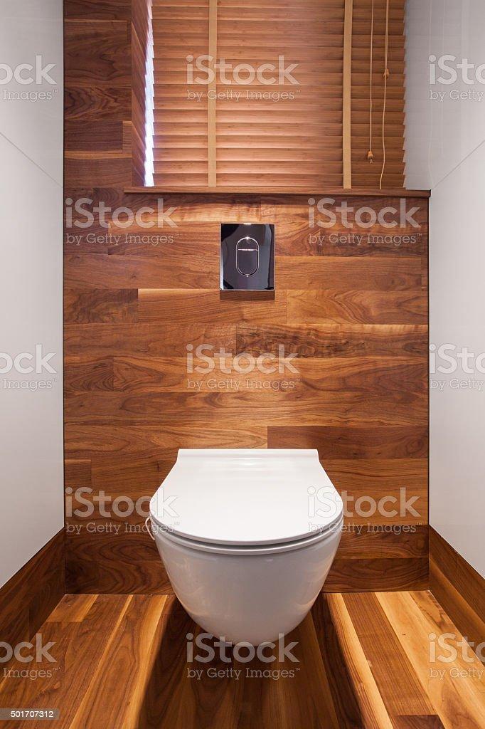 Wooden elements in toilet stock photo