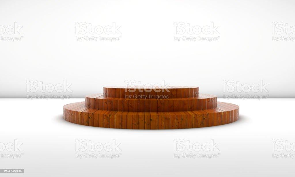 Wooden Empty Podium stock photo
