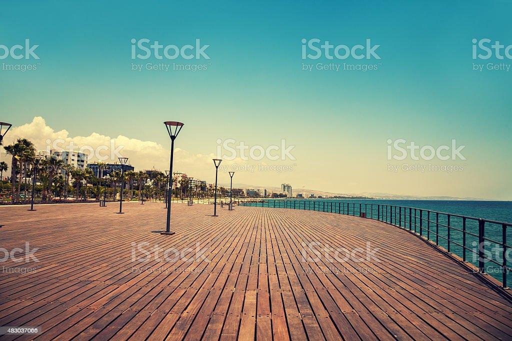 Wooden enbankment in Protaras, Cyprus stock photo