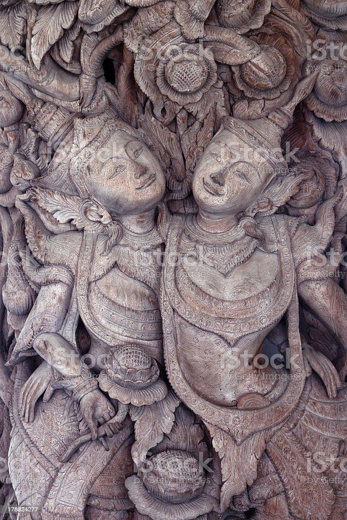 wooden engraving deva royalty-free stock photo
