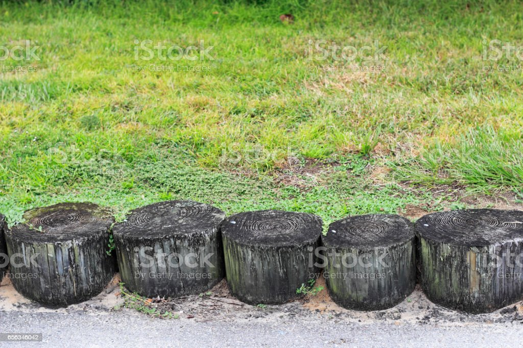 Wooden Erosion Control Logs Outside stock photo