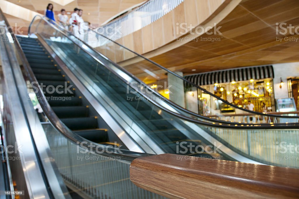 Wooden Escalators at the Shopping Mall royalty-free stock photo