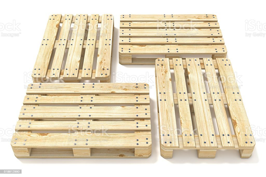 Wooden Euro pallets. Side view. 3D stock photo