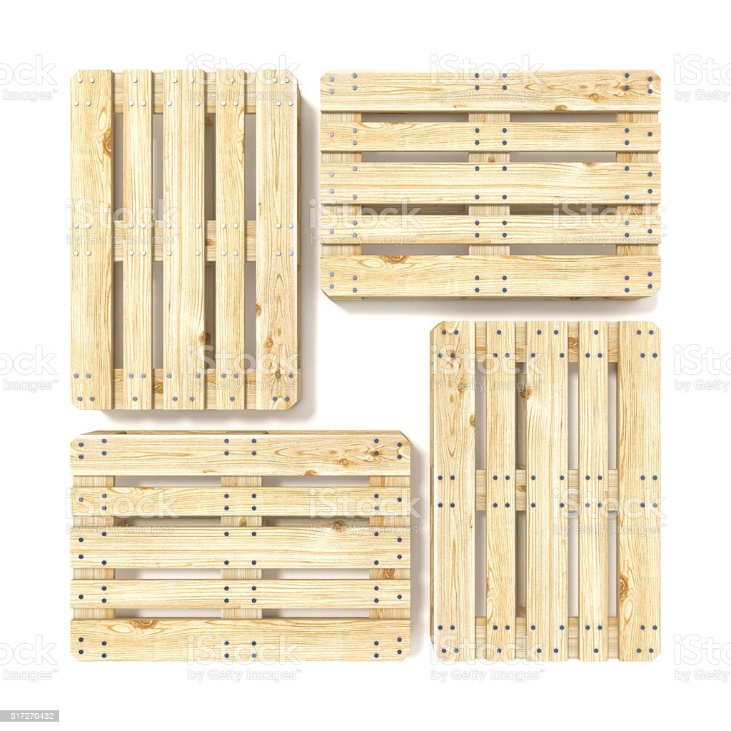 Wooden Euro pallets. Top view. 3D stock photo