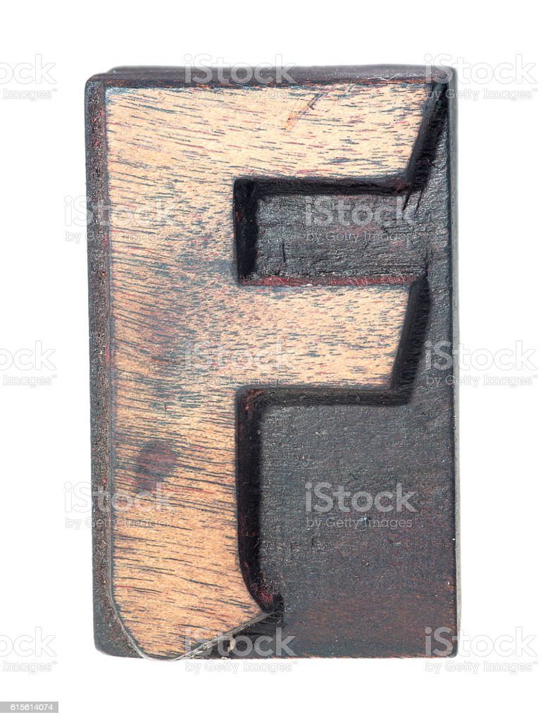 wooden F typeface stock photo