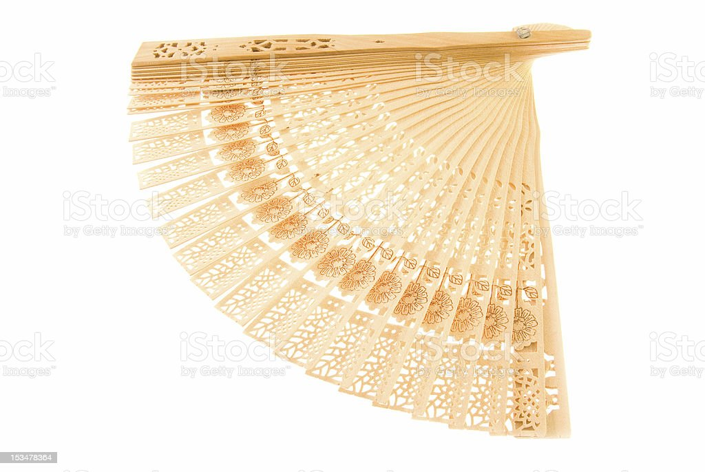 Wooden fan (isolated) royalty-free stock photo
