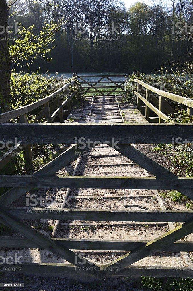 Wooden farm bridge. stock photo