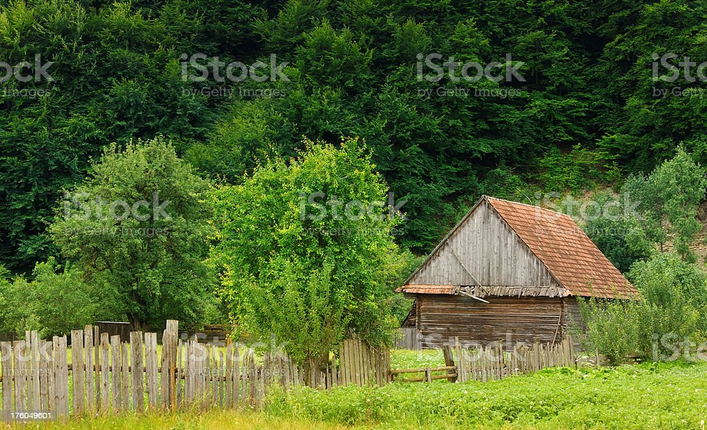 wooden farmhouse in the forest royalty-free stock photo