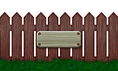 Wooden fence. Blank wooden signboard.