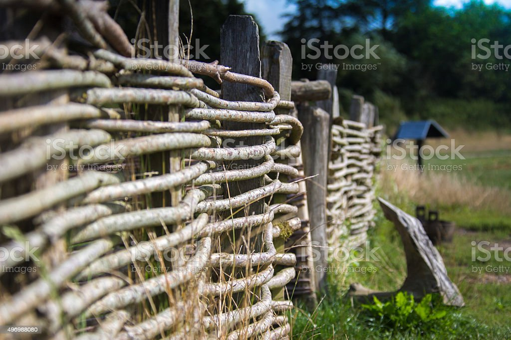 Wooden Fence in a Farm stock photo
