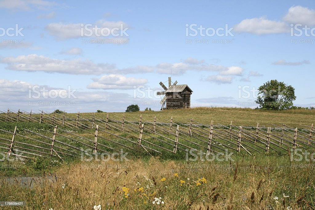 Wooden fence on Kizhi island Russia royalty-free stock photo